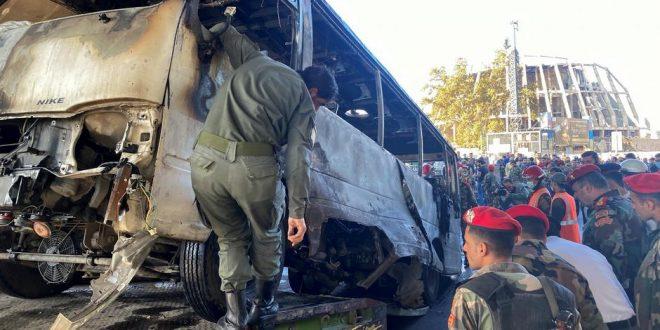 قتلى وجرحى في تفجير حافلة للجيش السوري في دمشق